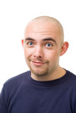 Face of confused man. Face of confused bold man look at camera,isolated on white Stock Photos