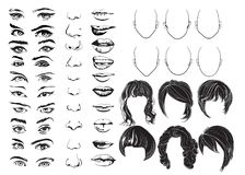 Face constructor, eyes, lips, noses and hair, vector woman face parts, head character. Vector illustration royalty free stock image
