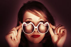 Face Of Cool Fashion Woman In Retro Summer Love Royalty Free Stock Photography