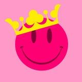 Face cor-de-rosa do smiley com coroa Foto de Stock Royalty Free