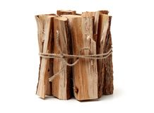 A face cord, or stack of logged oak wood. On a white background stock photos