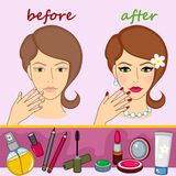 Face and cosmetics Stock Images
