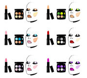 Face Cosmetics Makeup : eyes, lips, ruddy. Rules of drawing of a make-up: eyes, lips, ruddy royalty free illustration