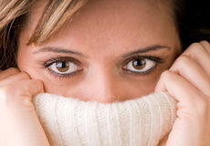 Face Covered. Woman face covered with a pullover Stock Image