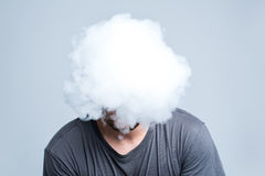 Face covered with thick smoke Royalty Free Stock Photography