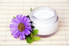 Face Cream. Cosmetic Face Cream Bottle and Violet Flower Royalty Free Stock Photos