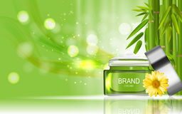 Face Cream Bottle Design Cosmetics Product Bottle with Flowers C Stock Photography