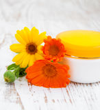 Face cream and calendula flowers Stock Images