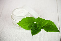 Face cream in glass jar with green leaf of urtica Royalty Free Stock Photo