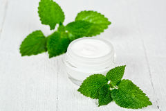 Face cream in glass jar with green leaves of urtica Stock Image