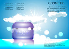Face cream glass jar realistic vector illustration  on blue sky background with clouds. Royalty Free Stock Photo