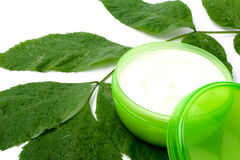 Face cream with green leaf Royalty Free Stock Photography