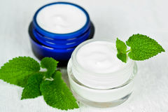Face cream in jars with urtica Royalty Free Stock Image