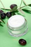 Face cream and olive twig Stock Photo