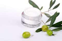 Face cream and olive twig Royalty Free Stock Photos