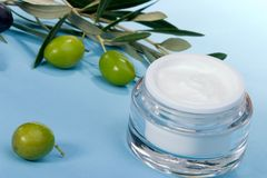 Face cream and olive twig Royalty Free Stock Photo