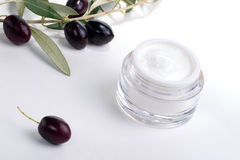 Face cream and olive twig Royalty Free Stock Images