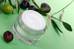 Face cream and olive twig Royalty Free Stock Photography