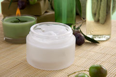 Face Cream and Olives Spa Set Royalty Free Stock Photo