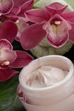 Face Cream and Pink Orchid Stock Images