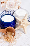 Face cream and sea salt Stock Image