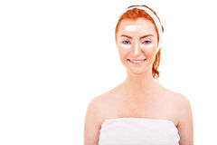 Face cream woman applying skin cream under eyes. Beauty eye Royalty Free Stock Images