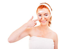 Face cream woman applying skin cream under eyes. Beauty eye Stock Image
