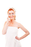 Face cream woman applying skin cream under eyes. Beauty eye Royalty Free Stock Photos