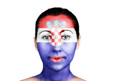 Face  with the Croatia flag Stock Photos