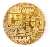 Face of the crypto currency golden bitcoin isolated on white bac. Kground. The concept of virtual international currency and business on the Internet Stock Photo