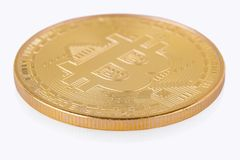 Face of the crypto currency golden bitcoin isolated on white bac. Kground. The concept of virtual international currency and business on the Internet Royalty Free Stock Photos