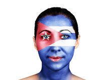 Face with the Cuba flag Royalty Free Stock Photography