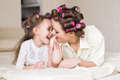 Face, curlers, close up Royalty Free Stock Photos