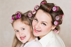 Face, curlers, close up Stock Image