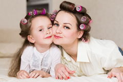 Face, curlers, close up Stock Photography