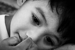 Face cute little boy sad ,black and white tone Stock Photo
