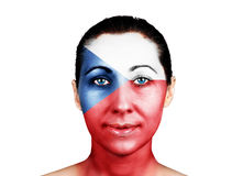 Face with the Czech Republic flag. Face of a woman with the Czech Republic flag Royalty Free Stock Images