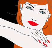 Face da menina bonita principal vermelha Fotos de Stock Royalty Free
