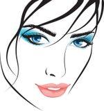 Face da menina da beleza. elementos do projeto ilustração stock
