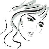Face da menina da beleza. elementos do projeto. ilustração royalty free