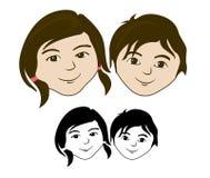 Face da menina do menino ilustração do vetor