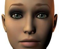 Face da menina em 3D com emoção Fotos de Stock