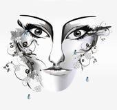 A face da mulher, Imagem de Stock