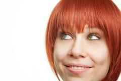 Face da mulher bonito nova que tem uma idéia imagens de stock