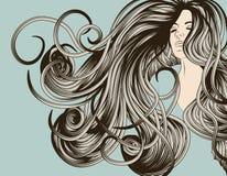 Face da mulher com cabelo de fluxo detalhado ilustração do vetor