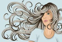 Face da mulher com cabelo detalhado Imagem de Stock Royalty Free