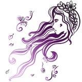 Face da mulher com cabelo preto longo Imagens de Stock Royalty Free