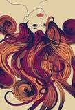 Face da mulher com flowin detalhado longo ilustração royalty free