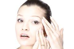 Face da mulher com os enrugamentos Foto de Stock Royalty Free