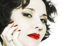 Face da mulher do Close-up com bordos vermelhos Imagens de Stock